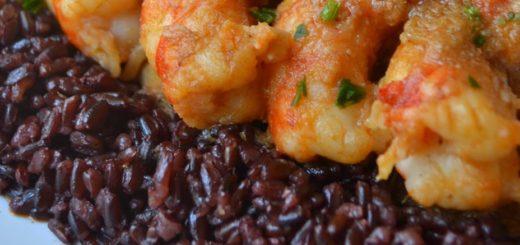 riso venere con gamberoni al curry