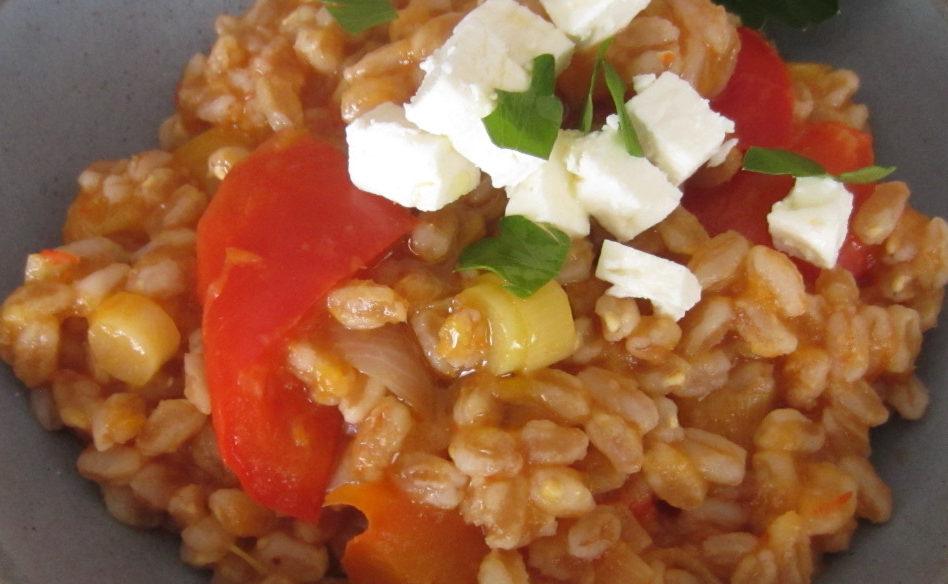 farro risottato pomodori feta